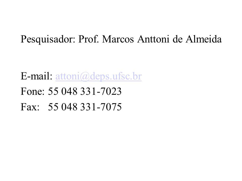 Pesquisador: Prof. Marcos Anttoni de Almeida
