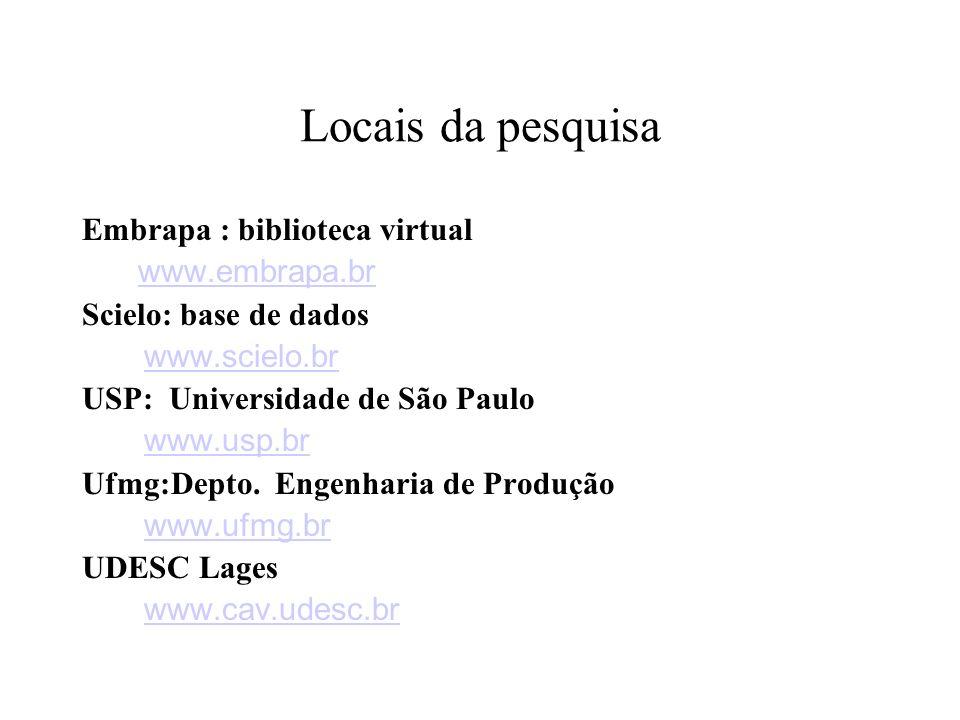 Locais da pesquisa Embrapa : biblioteca virtual www.embrapa.br