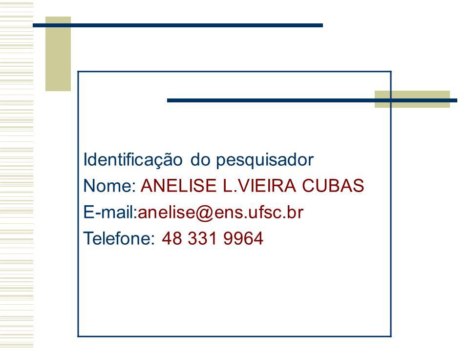 Identificação do pesquisador