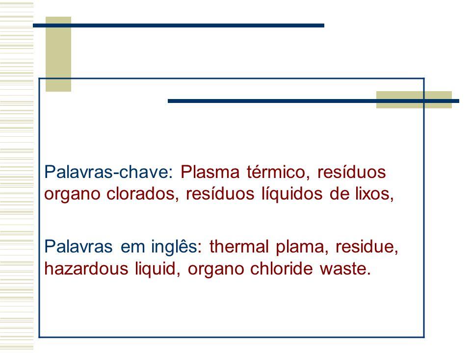 Palavras-chave: Plasma térmico, resíduos organo clorados, resíduos líquidos de lixos,