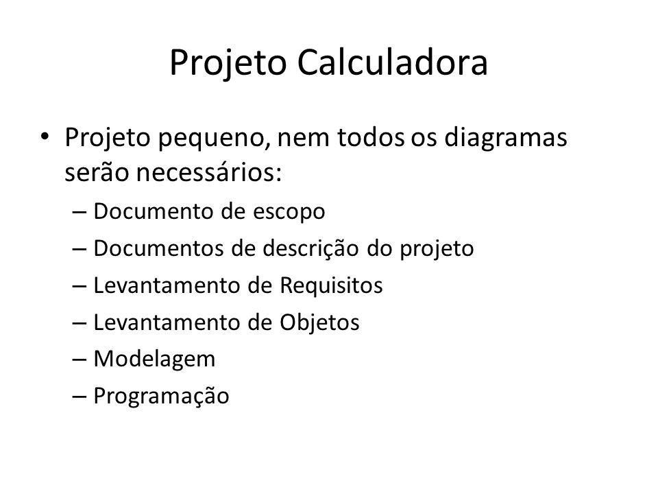 Projeto Calculadora Projeto pequeno, nem todos os diagramas serão necessários: Documento de escopo.