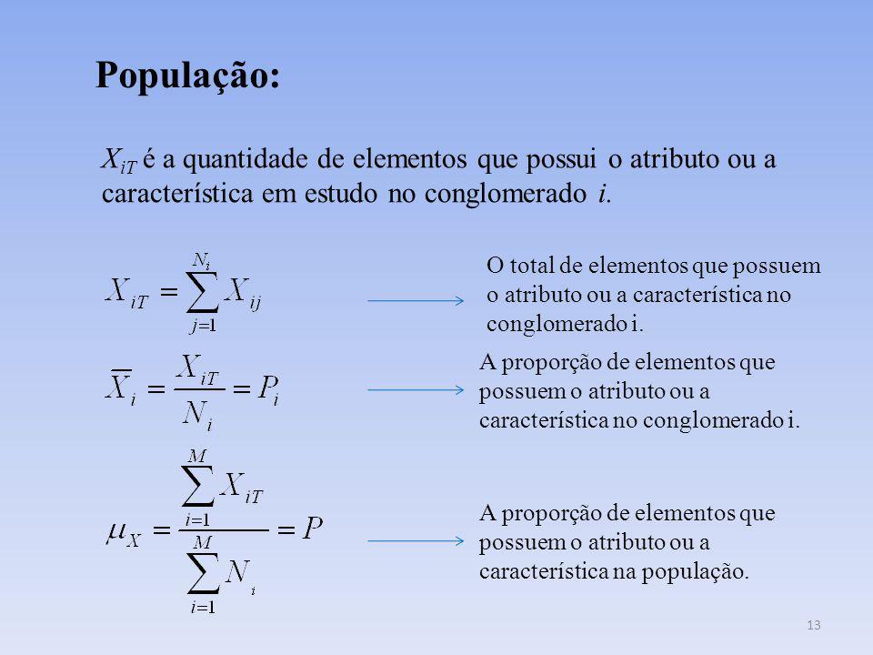População: XiT é a quantidade de elementos que possui o atributo ou a característica em estudo no conglomerado i.