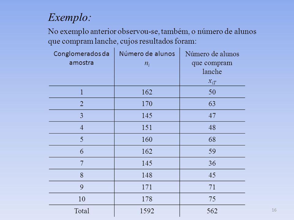Exemplo: No exemplo anterior observou-se, também, o número de alunos que compram lanche, cujos resultados foram: