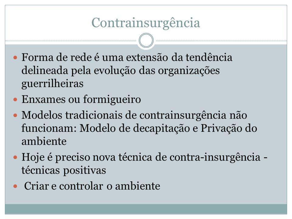 Contrainsurgência Forma de rede é uma extensão da tendência delineada pela evolução das organizações guerrilheiras.