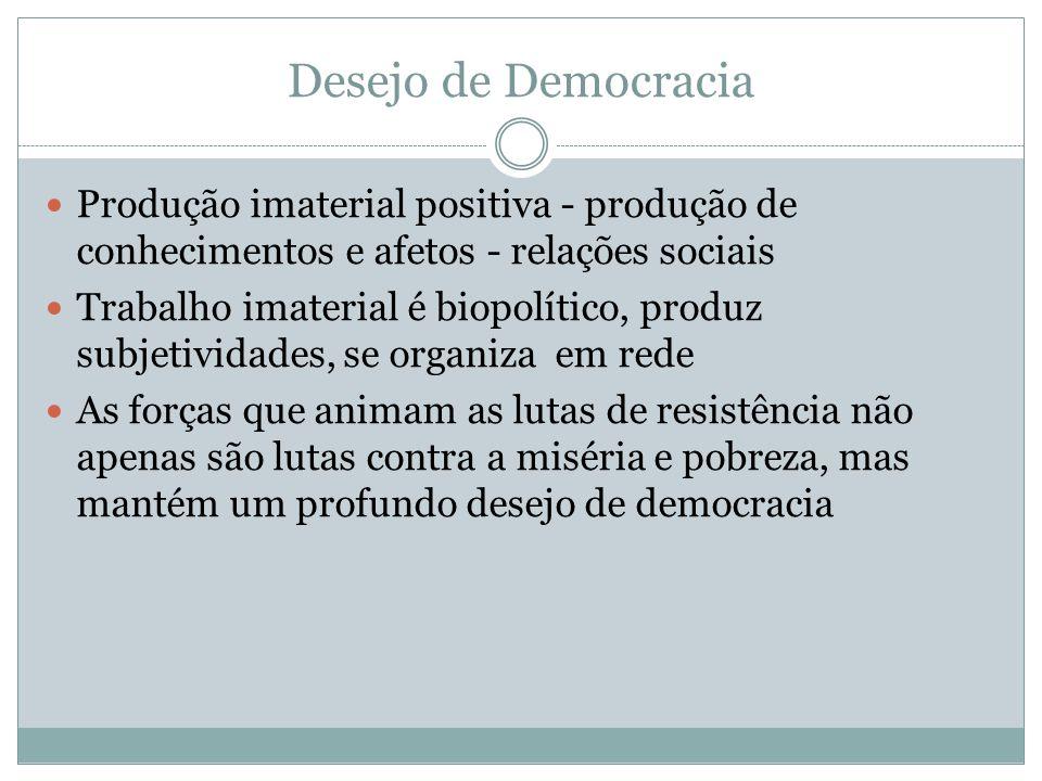 Desejo de Democracia Produção imaterial positiva - produção de conhecimentos e afetos - relações sociais.