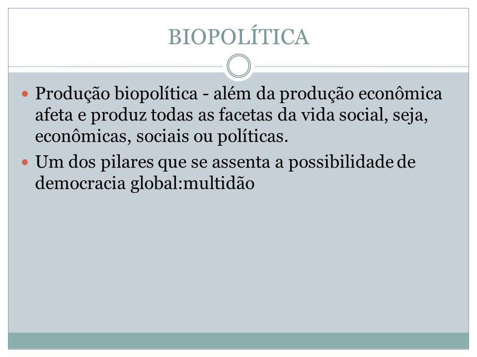 BIOPOLÍTICA Produção biopolítica - além da produção econômica afeta e produz todas as facetas da vida social, seja, econômicas, sociais ou políticas.