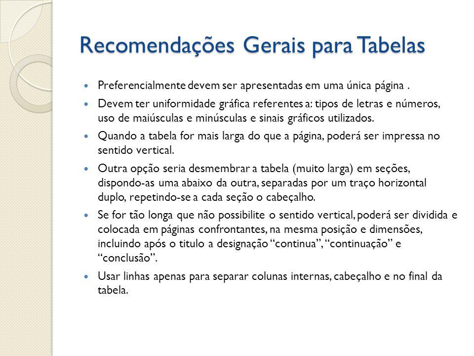 Recomendações Gerais para Tabelas