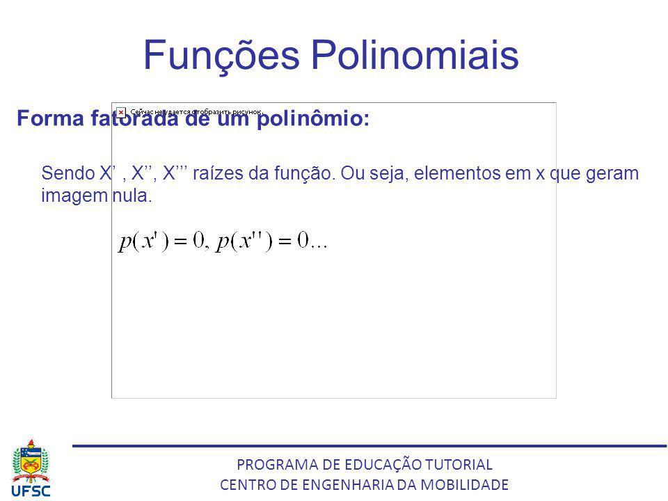 Funções Polinomiais Forma fatorada de um polinômio: