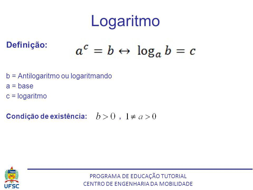 Logaritmo Definição: b = Antilogaritmo ou logaritmando a = base