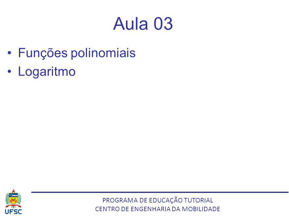 Aula 03 Funções polinomiais Logaritmo