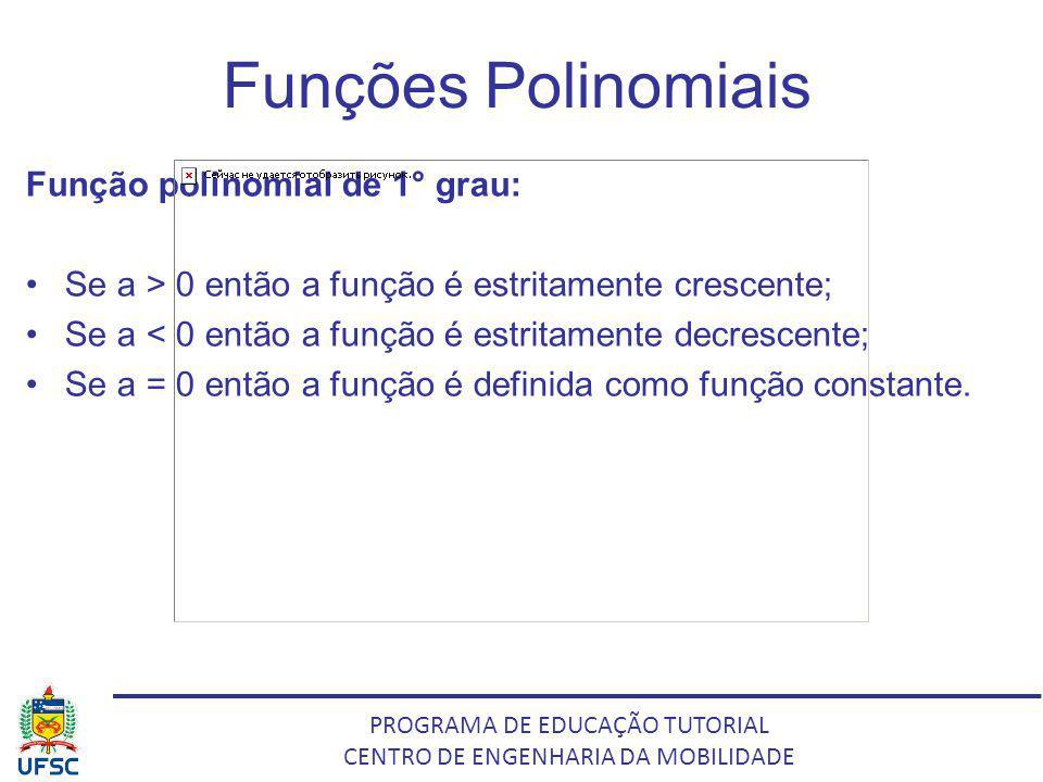 Funções Polinomiais Função polinomial de 1° grau: