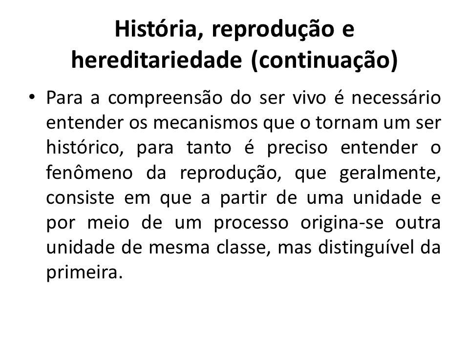 História, reprodução e hereditariedade (continuação)