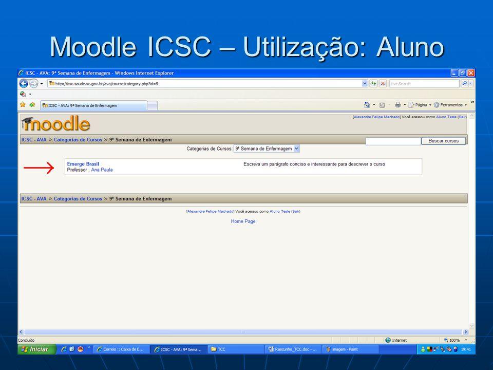 Moodle ICSC – Utilização: Aluno