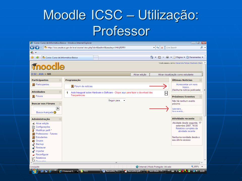 Moodle ICSC – Utilização: Professor