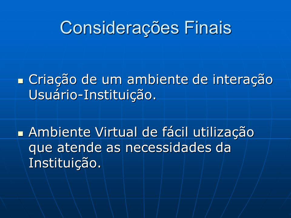 Considerações Finais Criação de um ambiente de interação Usuário-Instituição.