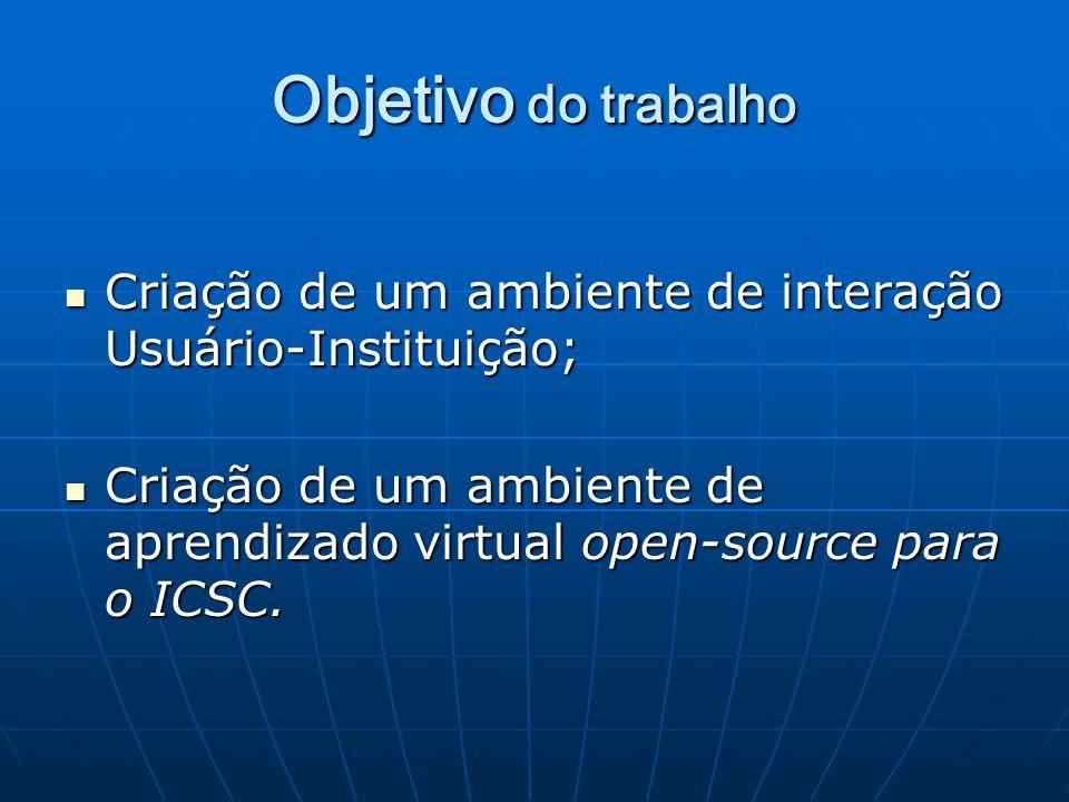 Objetivo do trabalho Criação de um ambiente de interação Usuário-Instituição; Criação de um ambiente de aprendizado virtual open-source para o ICSC.