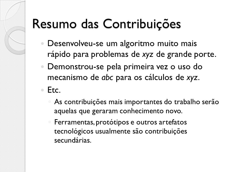 Resumo das Contribuições