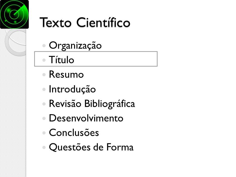 Texto Científico Organização Título Resumo Introdução
