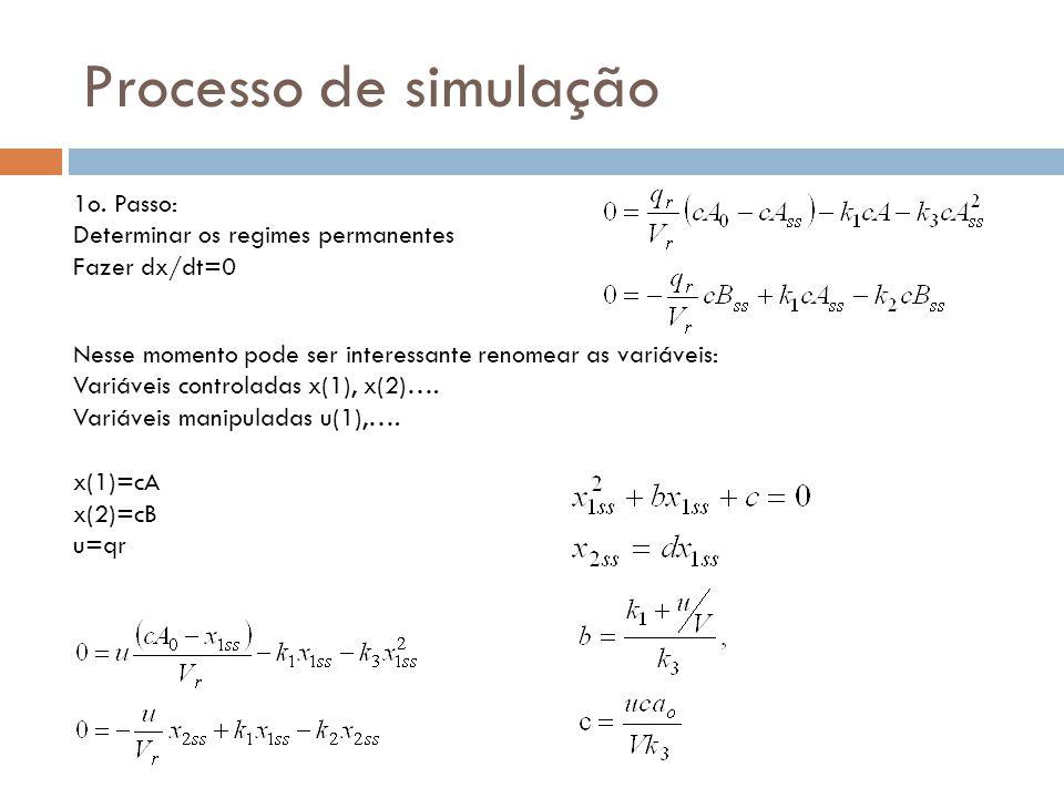 Processo de simulação 1o. Passo: Determinar os regimes permanentes