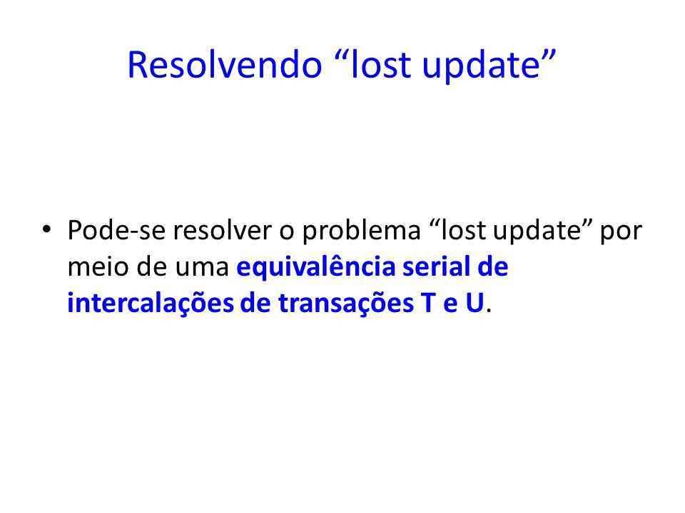 Resolvendo lost update