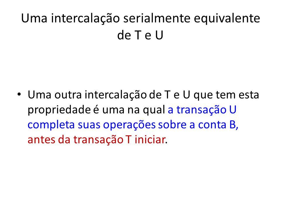 Uma intercalação serialmente equivalente de T e U