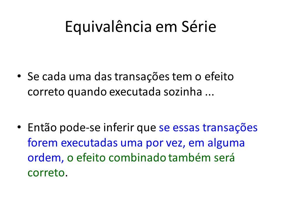 Equivalência em Série Se cada uma das transações tem o efeito correto quando executada sozinha ...
