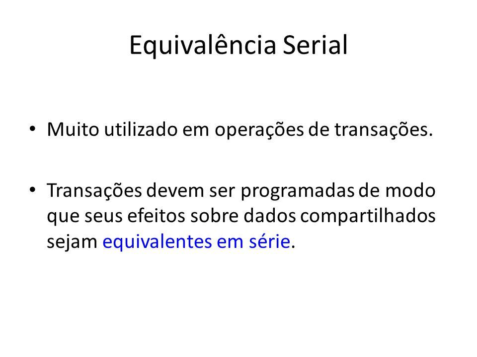 Equivalência Serial Muito utilizado em operações de transações.