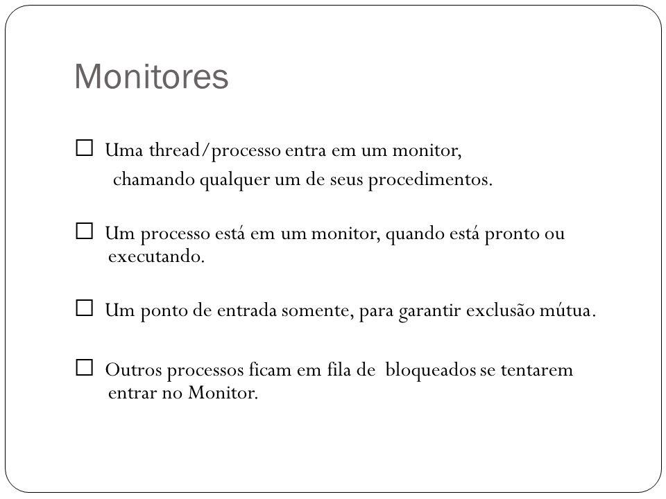 Monitores  Uma thread/processo entra em um monitor,