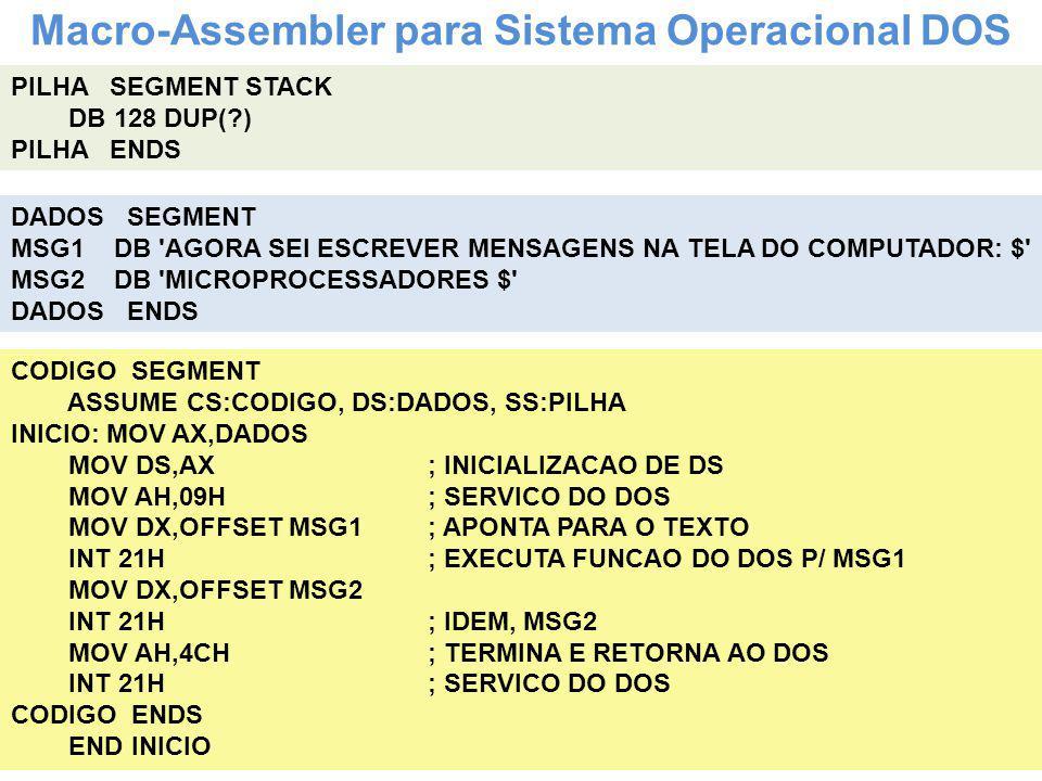 Macro-Assembler para Sistema Operacional DOS