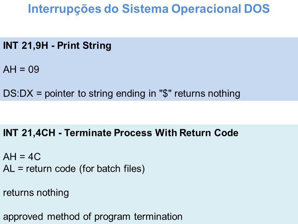 Interrupções do Sistema Operacional DOS
