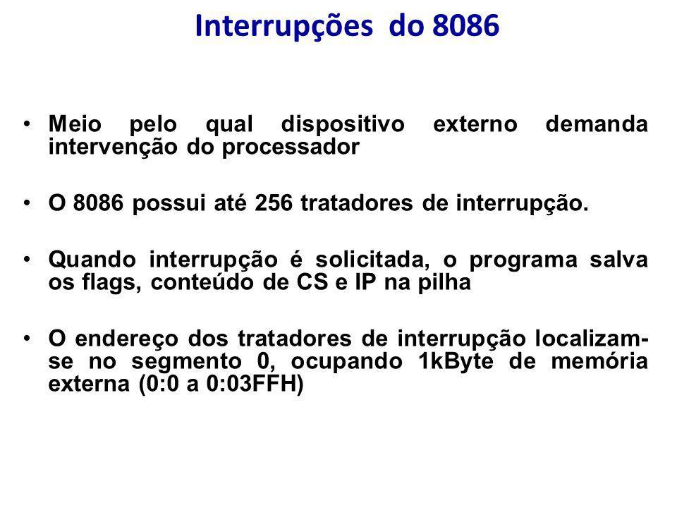 Interrupções do 8086 Meio pelo qual dispositivo externo demanda intervenção do processador. O 8086 possui até 256 tratadores de interrupção.