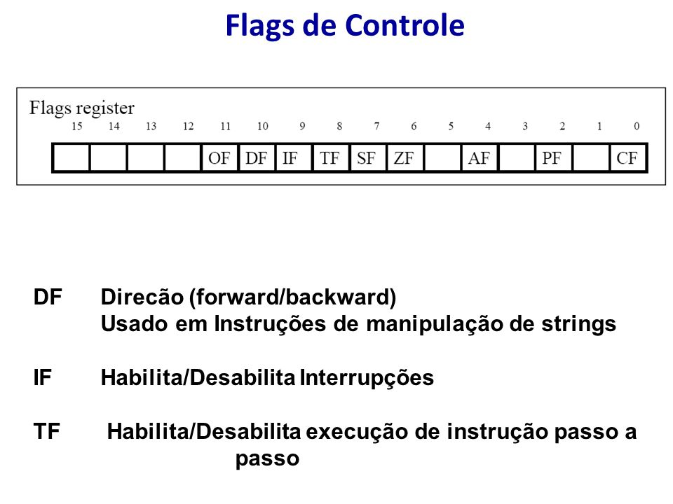 Flags de Controle DF Direcão (forward/backward)