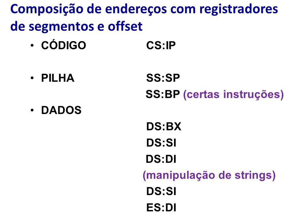 Composição de endereços com registradores de segmentos e offset