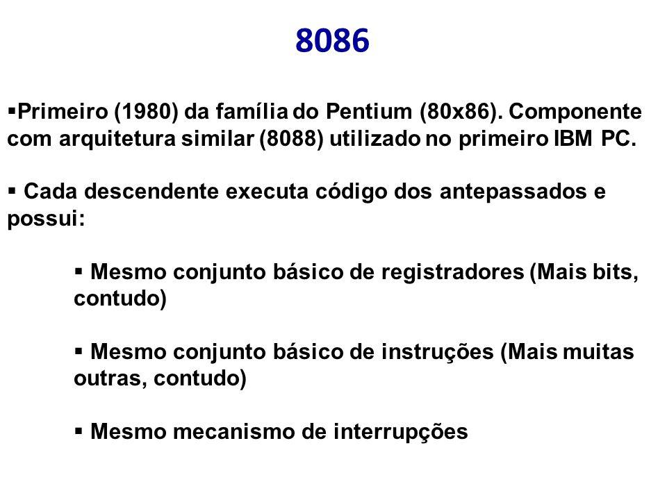 8086 Primeiro (1980) da família do Pentium (80x86). Componente com arquitetura similar (8088) utilizado no primeiro IBM PC.
