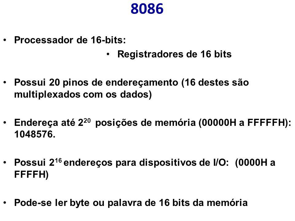 8086 Processador de 16-bits: Registradores de 16 bits