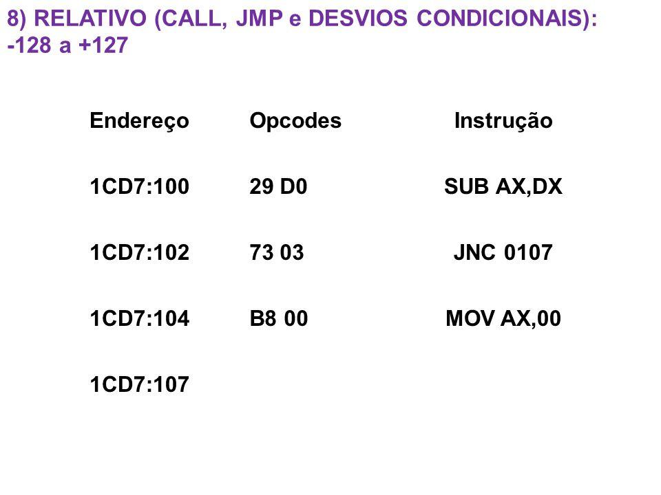 8) Relativo (Call, JMP e Desvios Condicionais): -128 a +127