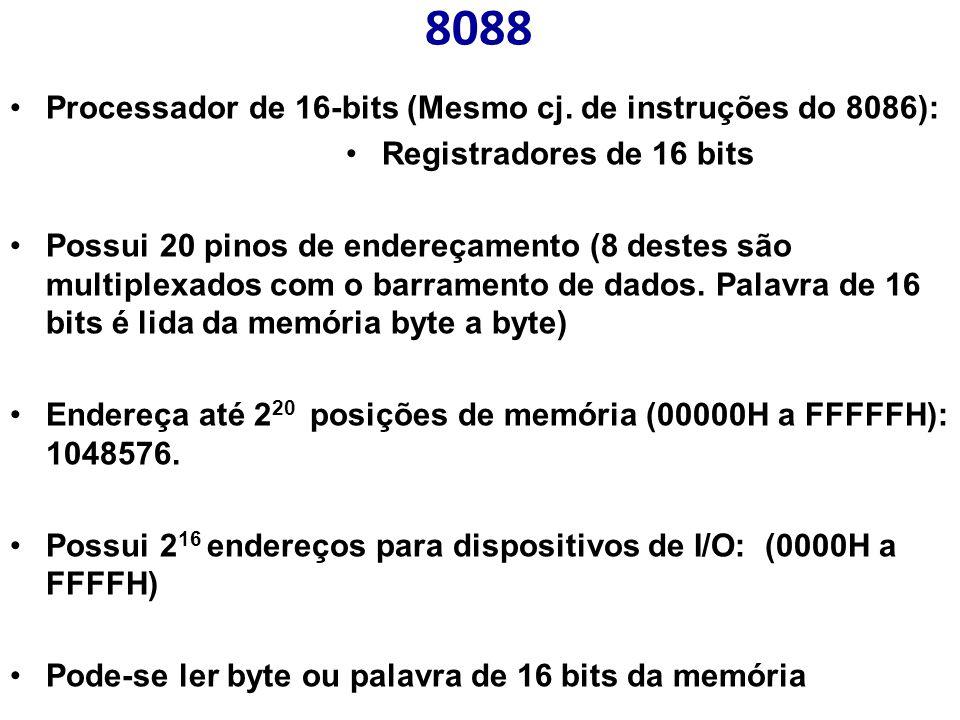 8088 Processador de 16-bits (Mesmo cj. de instruções do 8086):