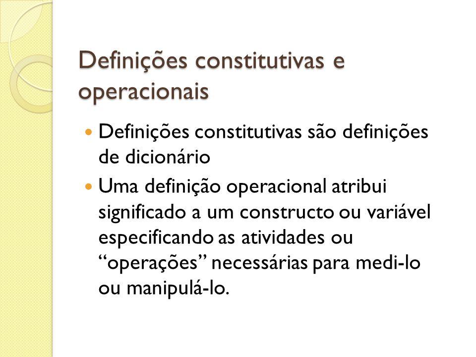 Definições constitutivas e operacionais