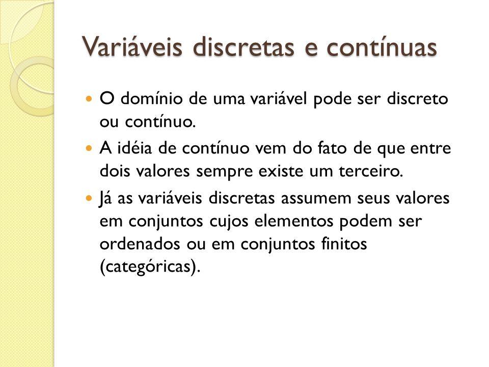 Variáveis discretas e contínuas
