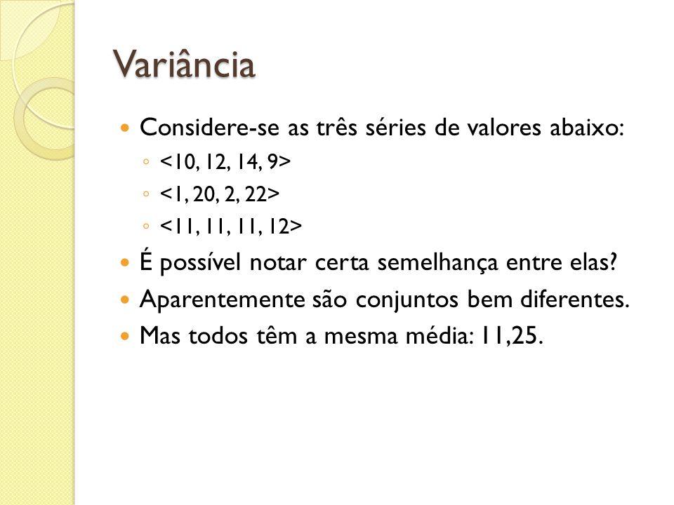 Variância Considere-se as três séries de valores abaixo: