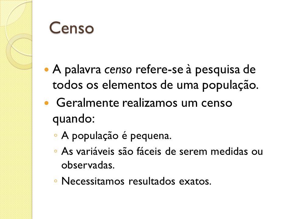 Censo A palavra censo refere-se à pesquisa de todos os elementos de uma população. Geralmente realizamos um censo quando: