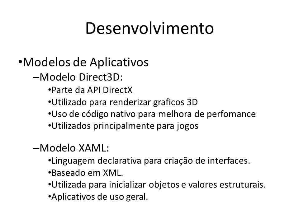 Desenvolvimento Modelos de Aplicativos Modelo Direct3D: Modelo XAML: