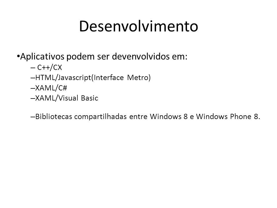 Desenvolvimento Aplicativos podem ser devenvolvidos em: C++/CX