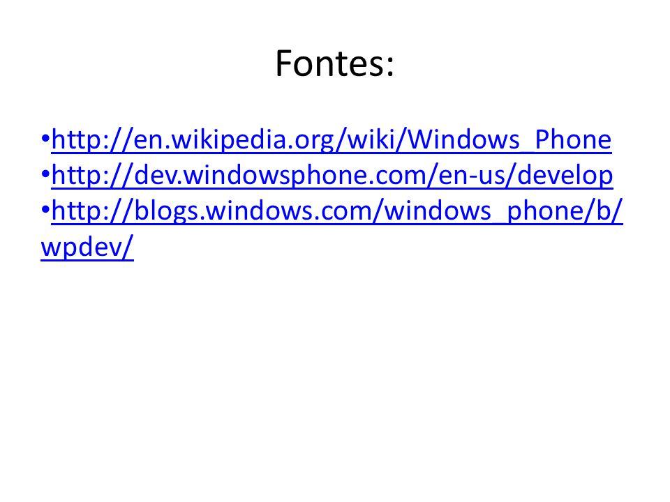 Fontes: http://en.wikipedia.org/wiki/Windows_Phone