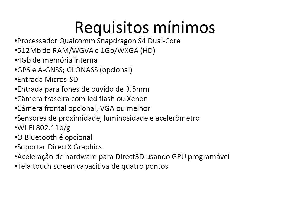 Requisitos mínimos Processador Qualcomm Snapdragon S4 Dual-Core