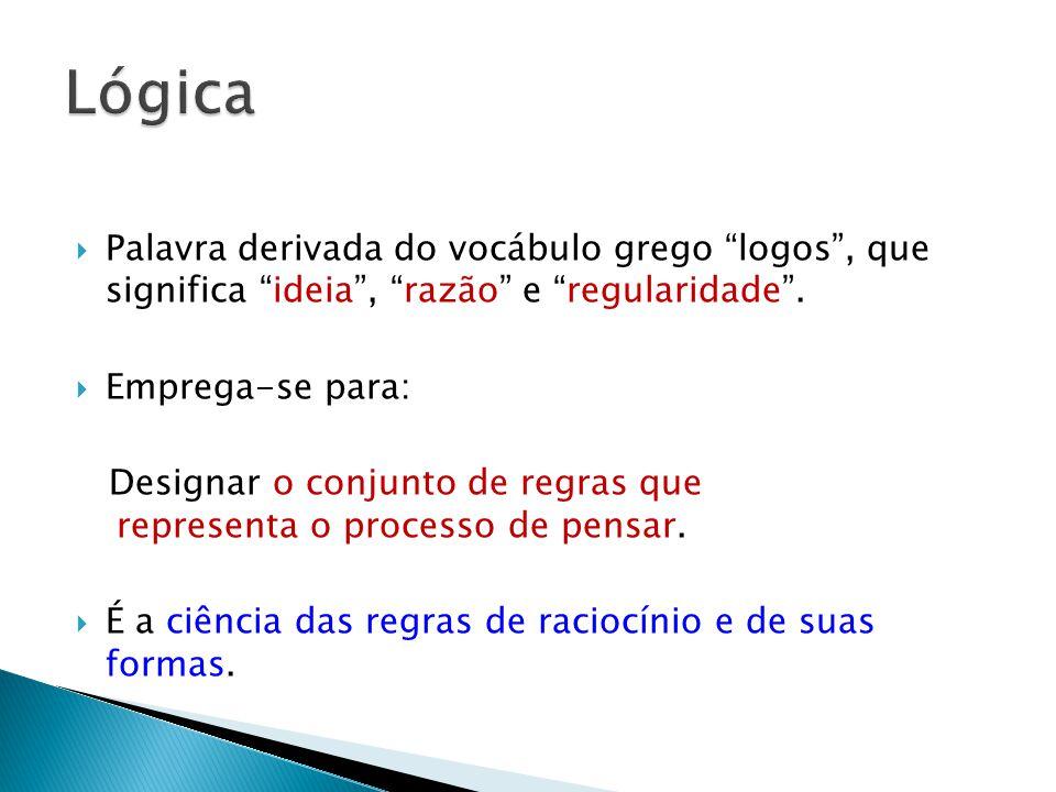 Lógica Palavra derivada do vocábulo grego logos , que significa ideia , razão e regularidade .