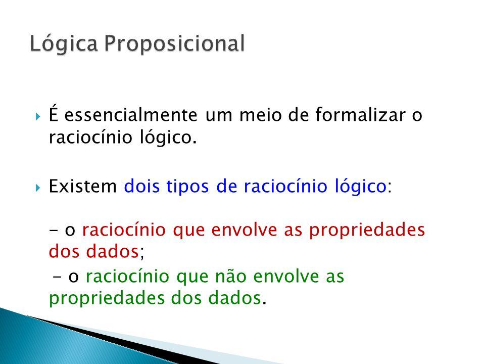 Lógica Proposicional É essencialmente um meio de formalizar o raciocínio lógico.