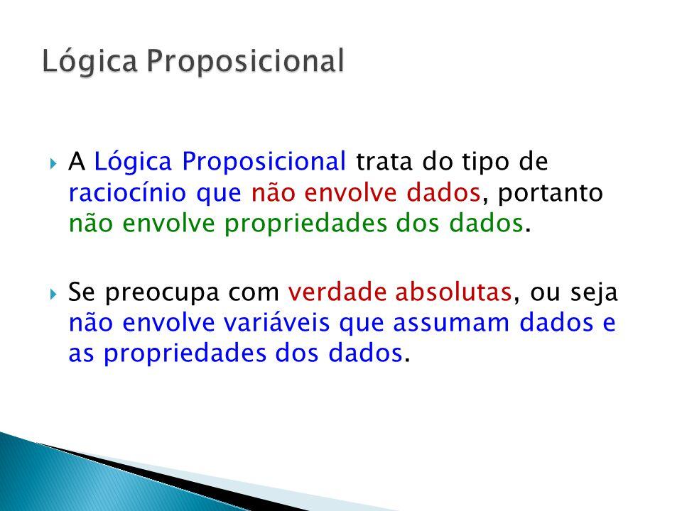 Lógica Proposicional A Lógica Proposicional trata do tipo de raciocínio que não envolve dados, portanto não envolve propriedades dos dados.
