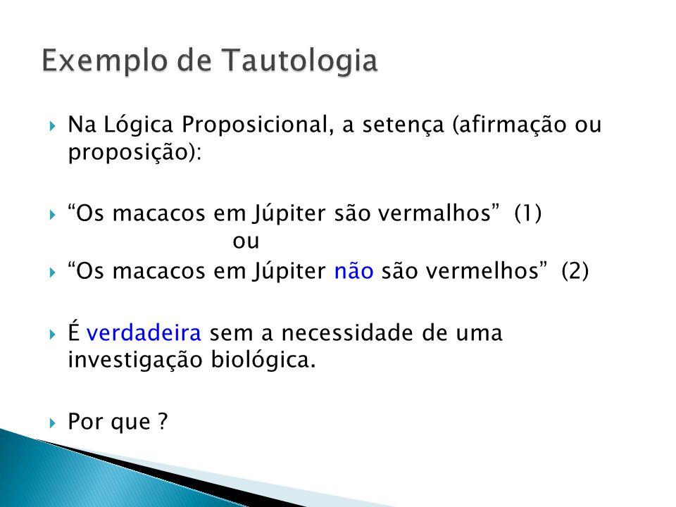 Exemplo de Tautologia Na Lógica Proposicional, a setença (afirmação ou proposição):