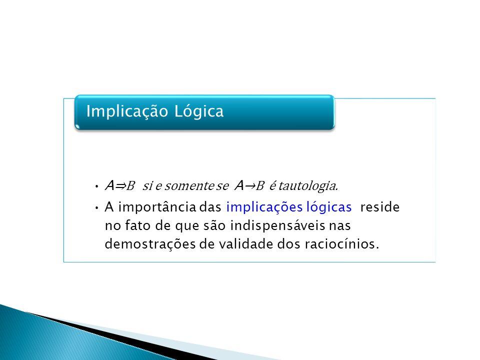 Implicação Lógica A⇒B si e somente se A→B é tautologia.